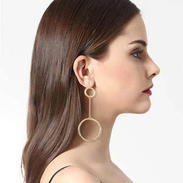 Euramerican Hollow-out Gold Metal Earring