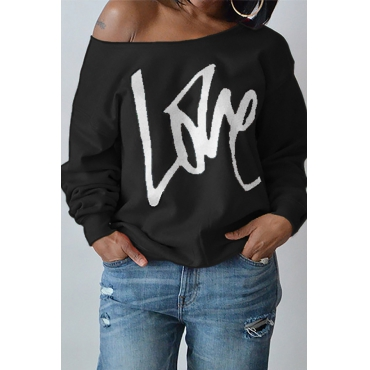 Leisure Round Neck Long Sleeves Letters Printing Black Cotton Pullover