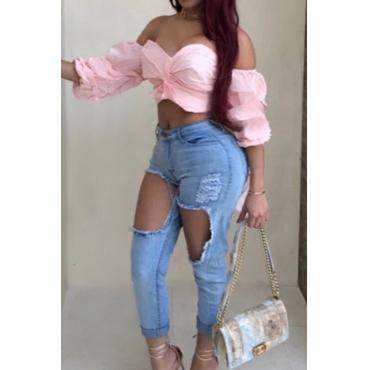 Arc d'épaule sexy-Chemises en polyester rose décoratives