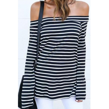 Seeking Off The Shoulder Striped T-shirt