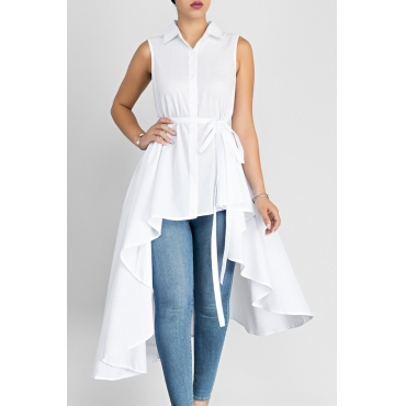 Stylish Turndown Collar Asymmetrical White Cotton Shirts