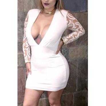 Vestito bianco del fodero della fibra del latte della rappezzatura della garza del collo di V collo sexy