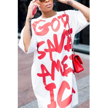 Leisure Round Neck Short Sleeves Letters Printing White Polyester Knee Length Dress