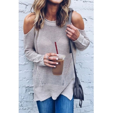 Leisure Round Neck Hollow-out Pink Cotton Blends Sweaters
