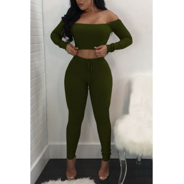 Euramerican Dew Shoulder Army Green Cotton Two-piece Pants Set
