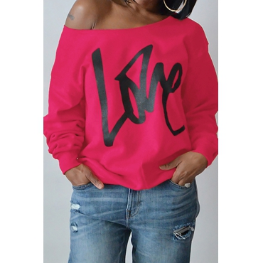 Leisure Round Neck Long Sleeves Letters Printing Rose Red Cotton Pullover
