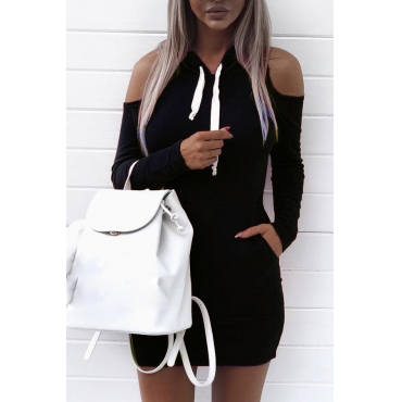 Leisure Hooded Collar Long Sleeves Hollow-out Black Cotton Sheath Mini Dress