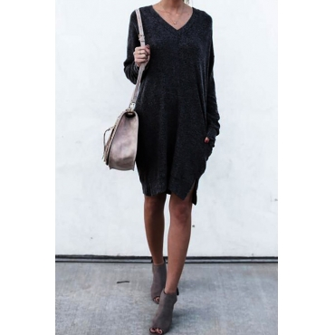 Lazy Afternoon V Neck Mini Dress