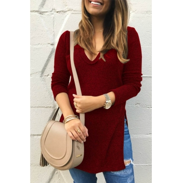 Leisure V Neck Side Split Wine Red Polyester Sweaters