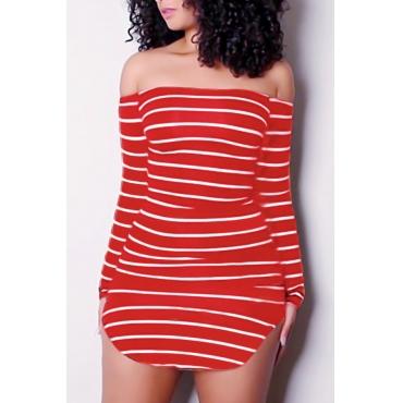 Euramerican Dew Shoulder Striped Red-white Milk Fiber Sheath Mini Dress