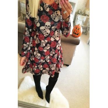 Leisure Round Neck Skull Printing Polyester Knee Length Dress