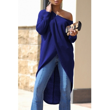 Leisure Dew Shoulder Long Sleeves Asymmetrical Navy Blue Cotton Shirts