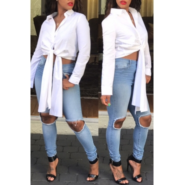 Stylish Turndown Collar Long Sleeves Asymmetrical White Polyester Shirts