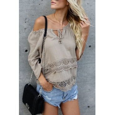 Cotton O Neck Long Sleeve Solid Blouses&Shirts