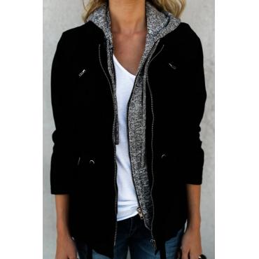 Lovely Polyester Hooded Long Sleeve zipper Regular Coat&Jacket