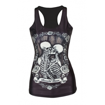Leisure Round Neck Skull Printing Black Polyester Tank Top