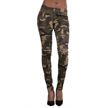 denim Print Zipper Fly Mid Regular Pants Jeans