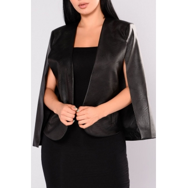 PU V Neck Sleeveless single breasted Regular Coat&Jacket