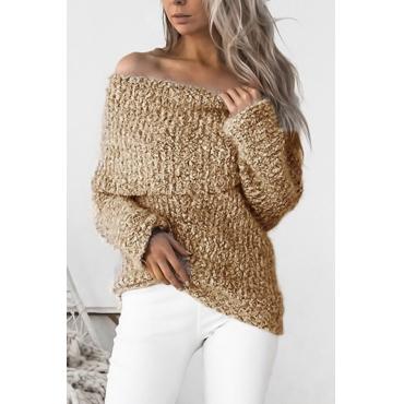Knitting Bateau Neck Long Sleeve Regular Pullovers Sweaters & Cardigans