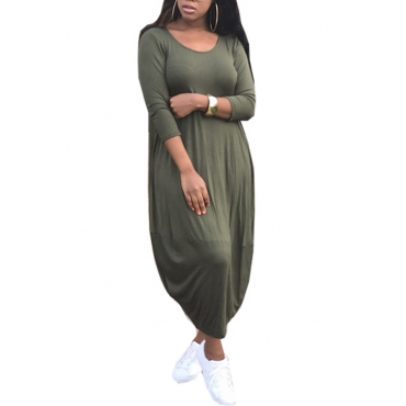 Polyester Casual O neck Cap Sleeve Long Sleeve Lantern skirt Mid Calf Dresses