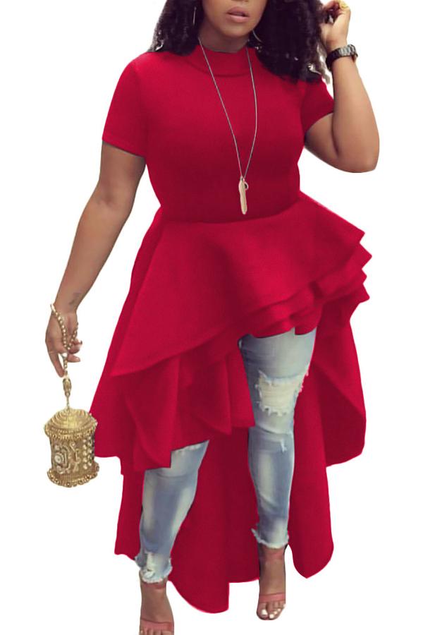 Collar Mandarino Elegante Design Falbala Asimmetrico Design Poliestere Rosso Vestito Mid Calf