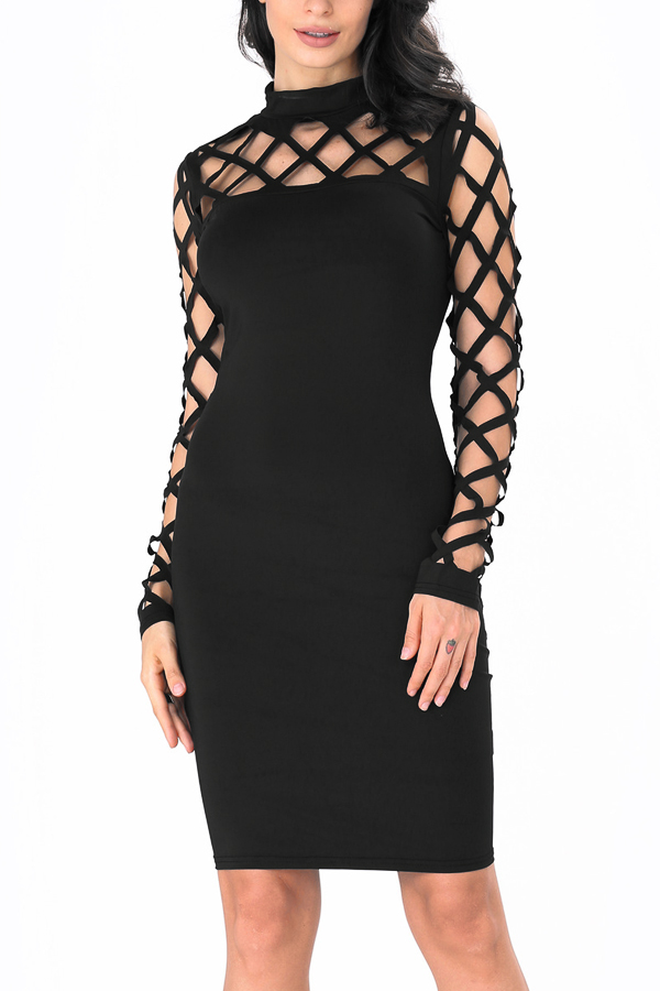 Sexy Round Neck Hollow-out Black Polyester Sheath Knee Length Dress Dresses <br><br>
