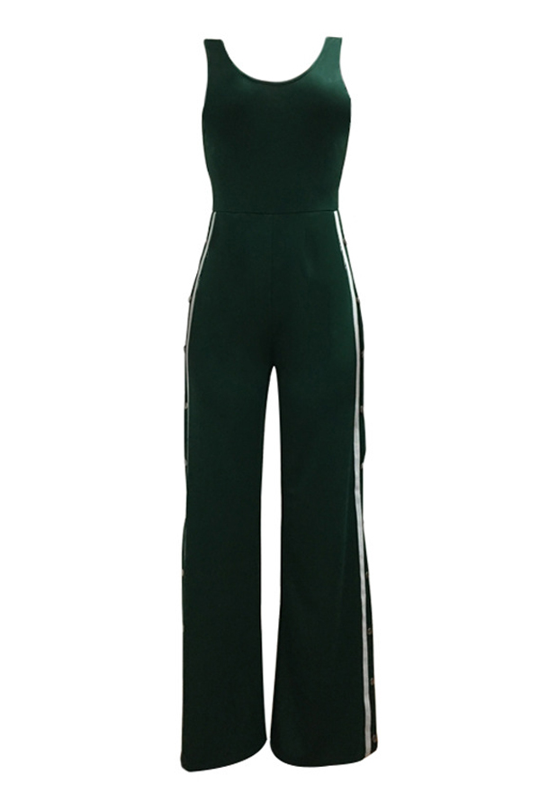 Sexy Side Split Green Polyester One-piece Jumpsuits