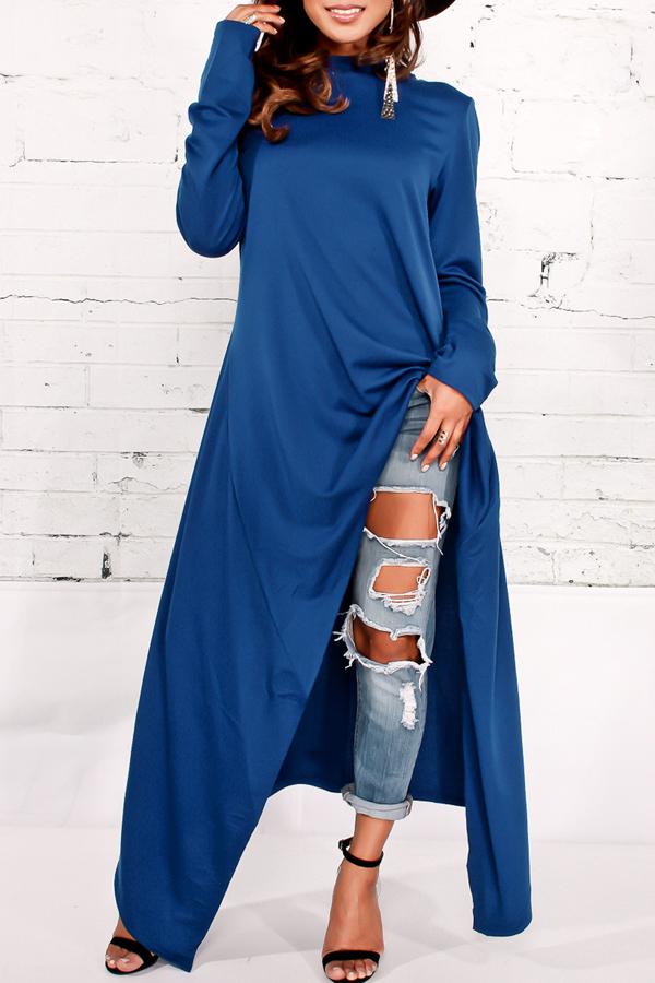 Freizeit Rundhals mit langen Ärmeln Blaue Baumwollmischungen Pullover