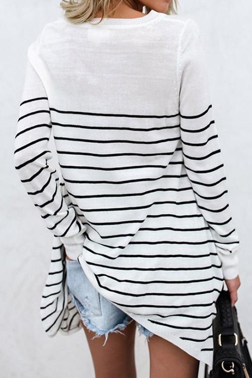Freizeit-Rundhalsausschnitt Gestreiftes weißes Blending-T-Shirt