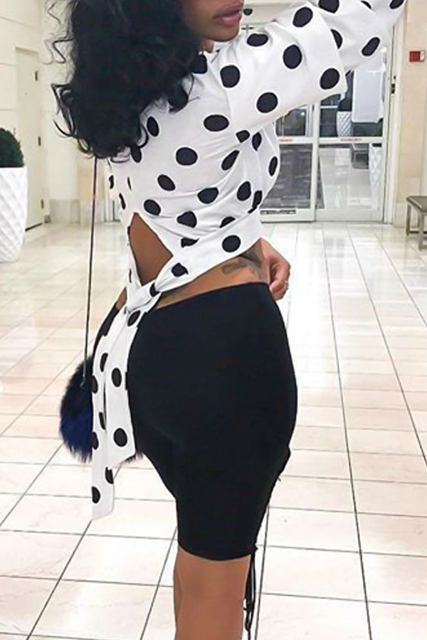 Trendy Round Neck Dots Printed Hollow-out White Polyester Shirts