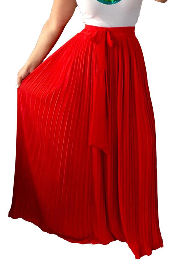 De moda de alta cintura de poliéster rojo plisado faldas