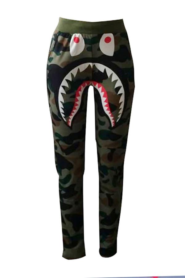Leisure Elastic Waist Camouflage Printed Army Green Pants