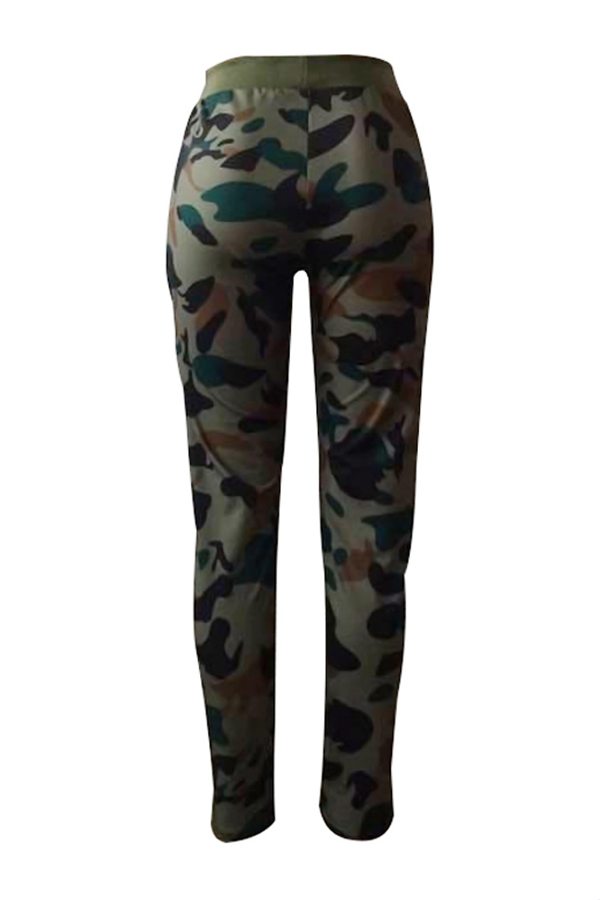 Leisure Elastic Waist Camouflage Printed Army Green Pants