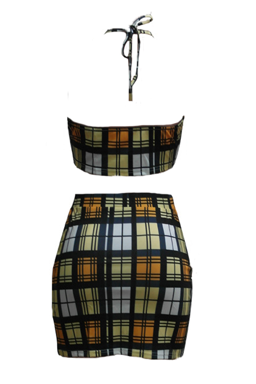 Sexy Backless Plaids Yellow Cotton Two-piece Skirt Set