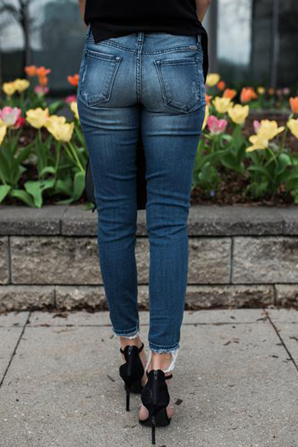 Euramerican Patchwork Blue Denim Pants