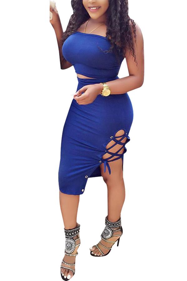 Sexy Dew Shoulder Lace-up Hollow-out azul de leche de fibra de dos piezas conjunto falda
