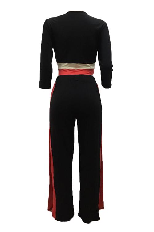 Trendy Round Neck Patchwork Black Milk Fiber Two-piece Pants Set