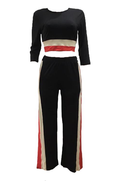 Patchwork de cuello redondo de moda, negro, fibra de leche, pantalones de dos piezas, conjunto