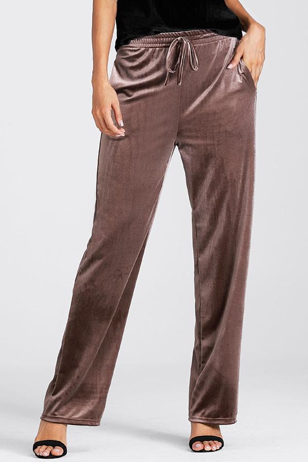 Euramerican pantalones Pleuche de café con cintura elástica