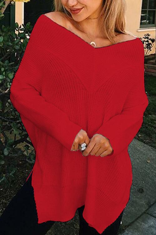 Maglie lunghe maniche lunghe del collo V collo laterale camicia di cotone sparse laterali