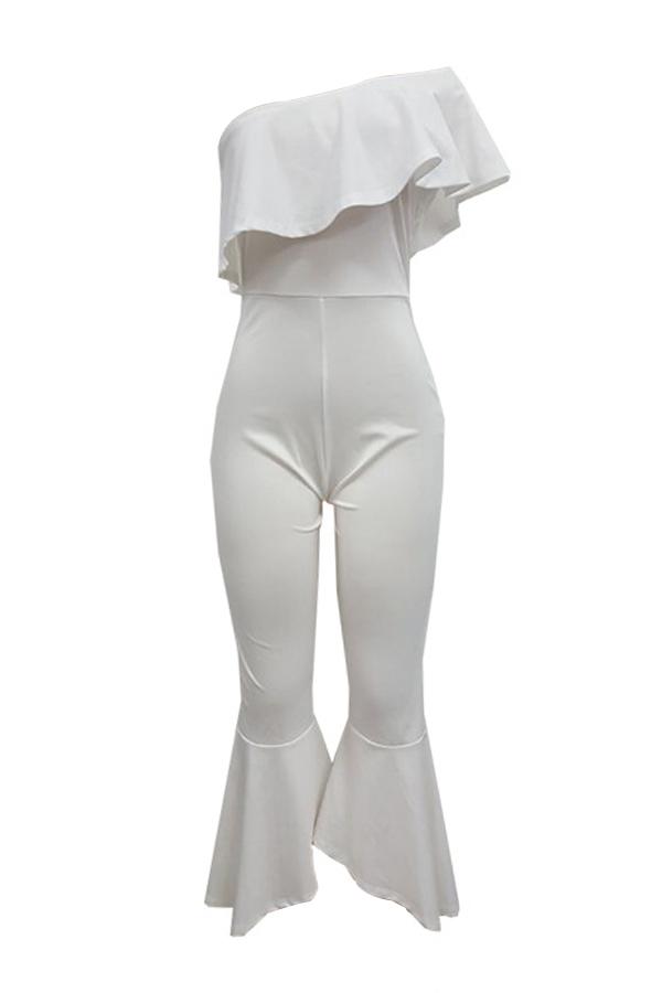 Trendy Dew Schulter Falbala Design weiß Polyester Einteiler Overalls