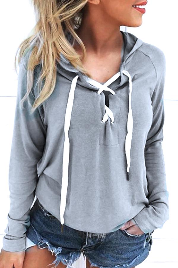 Freizeit mit langen Ärmeln Schnürung Grau Polyester Hoodies