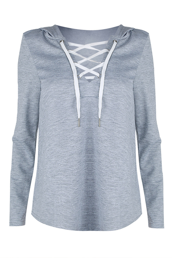 Leisure Long Sleeves Lace-up Grey Polyester Hoodies