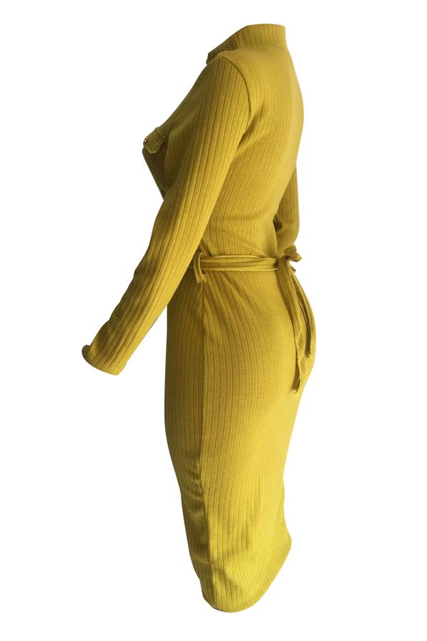 Mangas Compridas Euramerican Jaqueta De Poliéster Amarelo Vestido Meia-panturrilha