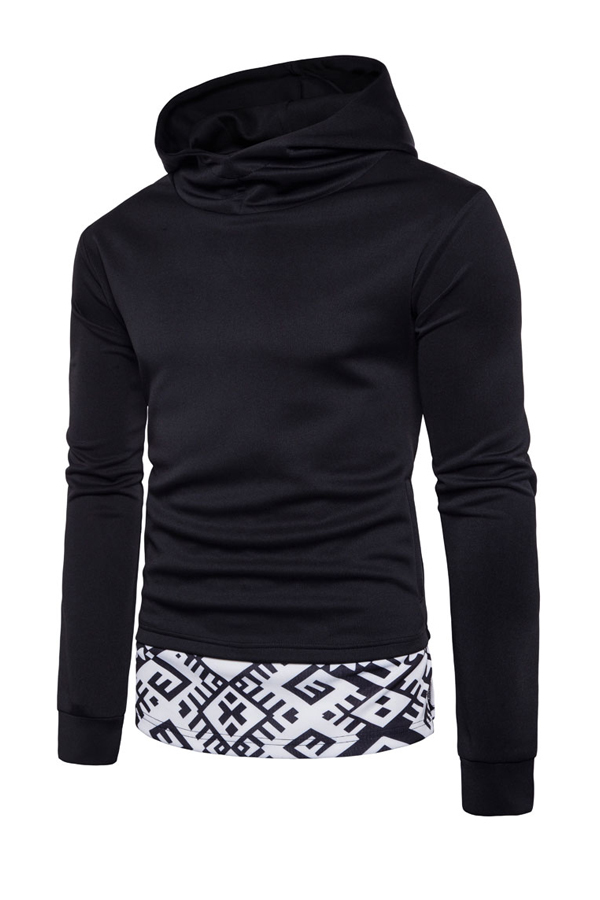 Cotton Blends Hooded collar Long Sleeve Patchwork Men Clothes