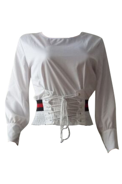 Trendy Round Neck Lace-up White Cotton Shirts