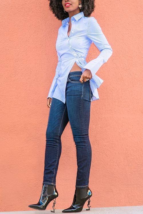 Euramerican Turndown Collar mangas compridas Striped camisas de poliéster azul