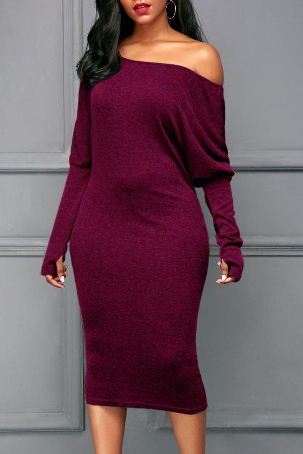 Euramerican Dew Shoulder Wine Red Cotton Blend Sheath Mid Calf Dress