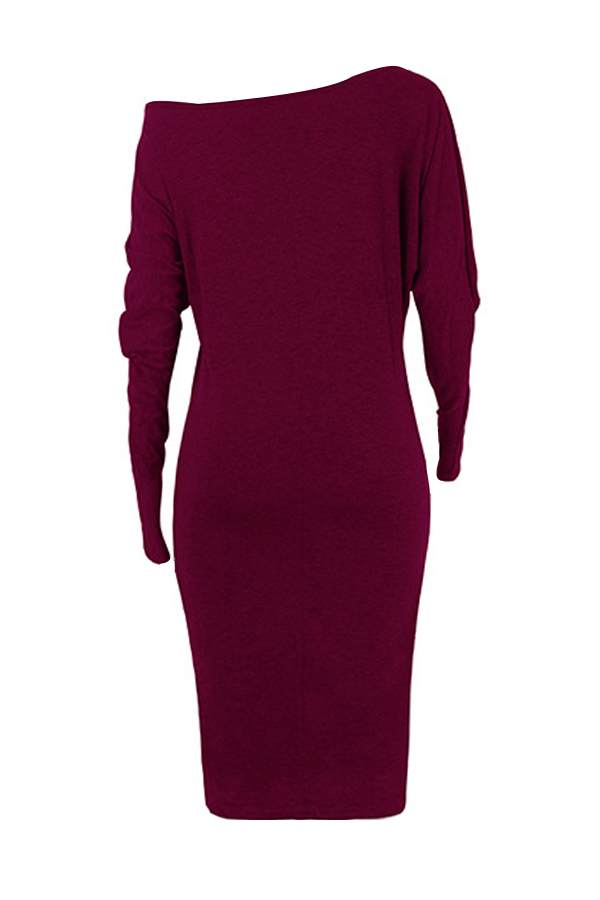 Euramerican Dew Shoulder Wine Red Cotton Blend Sheath Mid Calf Dress
