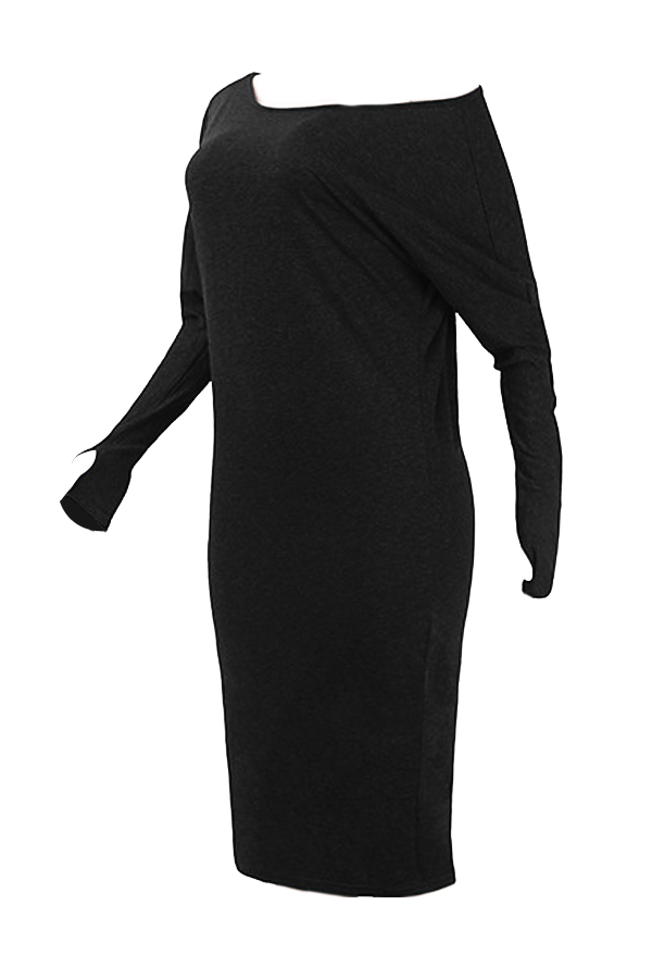 Euramerican Dew Shoulder Black Cotton Blend Sheath Mid Calf Dress